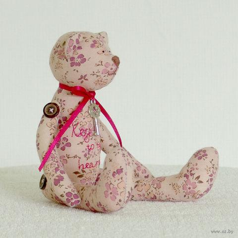 """Кукла ручной работы """"Розовый мишка с ключиком"""""""