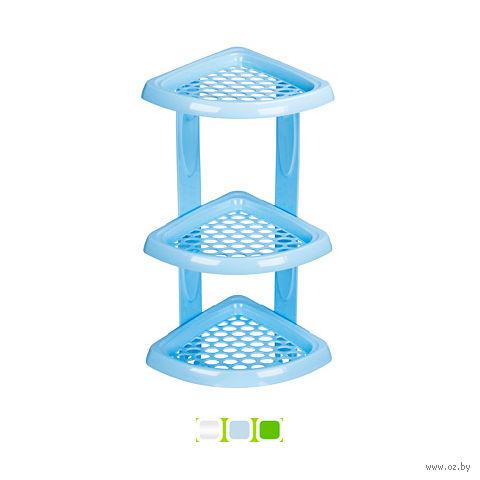 Полка для ванной угловая пластмассовая 3-ярусная (185х185х480 мм)