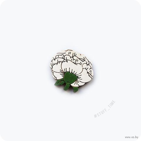 "Мини-брошка деревянная ""Белая роза"" (арт. 413) — фото, картинка"