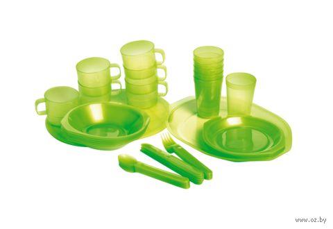 Набор посуды для пикника (45 предметов; зелёный) — фото, картинка