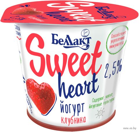 "Йогурт ""Sweet Heart. Клубника"" (2,5%; 150 г) — фото, картинка"