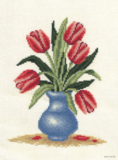 """Вышивка крестом """"Букет тюльпанов"""" (170х220 мм) — фото, картинка"""
