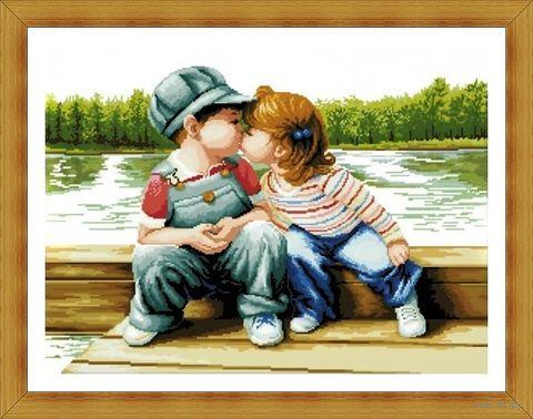 "Алмазная вышивка-мозаика ""Поцелуй у реки"" (700х500 мм) — фото, картинка"