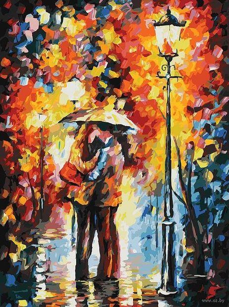 """Картина по номерам """"Поцелуй под дождем"""" (800х600 мм)"""