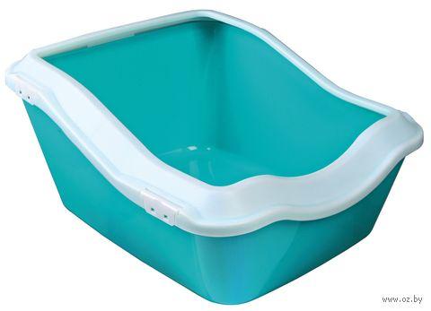 "Туалет для кошек ""Cleany"" (45х29х54 см; бело-аквамариновый) — фото, картинка"