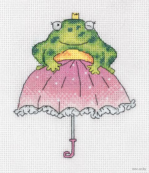 "Вышивка крестом ""Лягушка Жаннетка"" (135х155 мм) — фото, картинка"