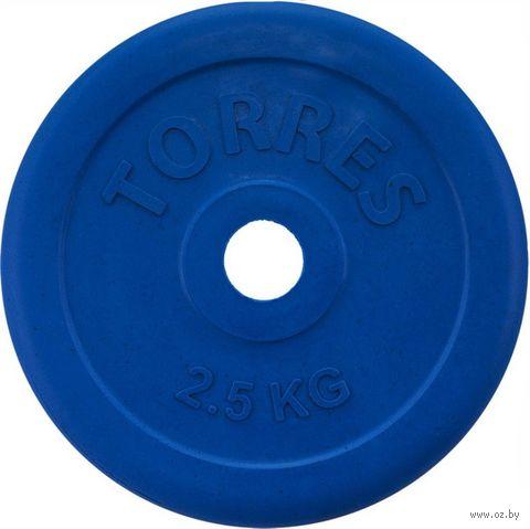 Диск обрезиненный 2,5 кг (синий; арт. PL50392) — фото, картинка