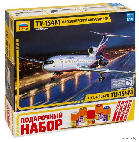 """Подарочный набор """"Пассажирский самолет ТУ-154М"""" (масштаб: 1/144)"""