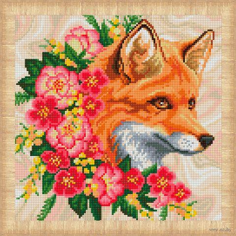 """Алмазная вышивка-мозаика """"Лисица в цветах"""" (300х300 мм) — фото, картинка"""