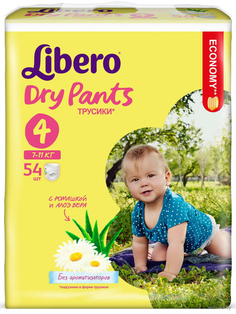 """Подгузники-трусики для детей """"Libero Dry Pants 4"""" (7-11 кг; 54 шт)"""