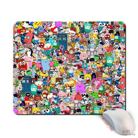 """Коврик для мыши большой """"Стикеры"""" (арт. 385) — фото, картинка"""