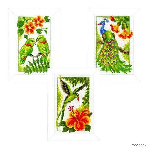 """Вышивка крестом """"Экзотические птицы"""" (80x120 мм; 3 шт.) — фото, картинка"""