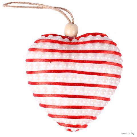 """Ёлочное украшение """"Сердце с бусинками"""" (3 шт.) — фото, картинка"""