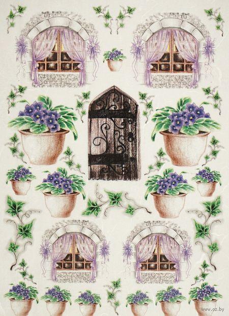 """Бумага для декупажа рисовая """"Двери и окошки"""" (21х30 см; арт. AM400333) — фото, картинка"""
