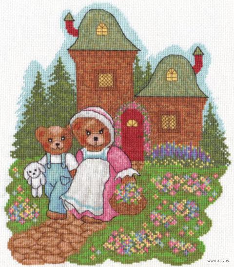 "Вышивка крестом ""Медвежата на прогулке"" (240х280 мм) — фото, картинка"