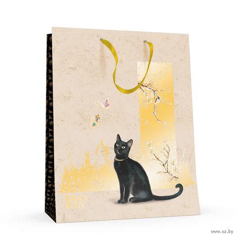 """Пакет бумажный подарочный """"Черные кошки"""" (26x32,5x13 см) — фото, картинка"""