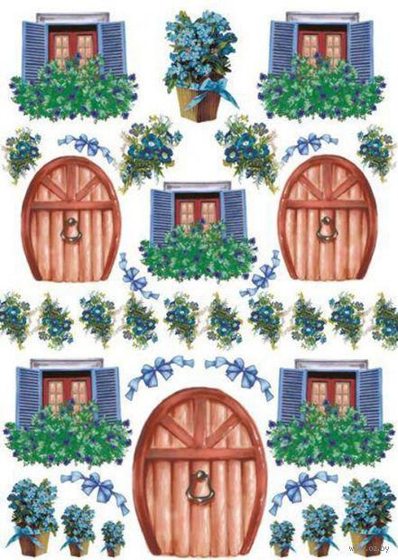 """Бумага для декупажа рисовая """"Двери и окошки"""" №4 (210х300 мм) — фото, картинка"""