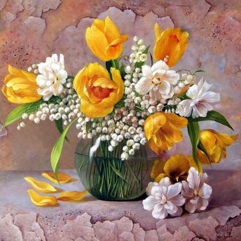 """Алмазная вышивка-мозаика """"Желтые тюльпаны"""" (400х400 мм) — фото, картинка"""