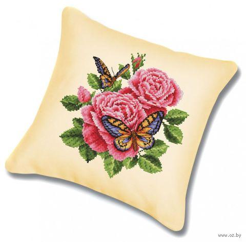 "Вышивка крестом ""Подушка. Бабочки и розы"" (450х450 мм) — фото, картинка"