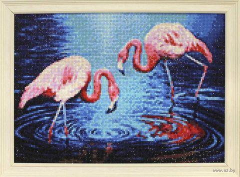 "Алмазная вышивка-мозаика ""Фламинго на озере"" (380х270 мм) — фото, картинка"
