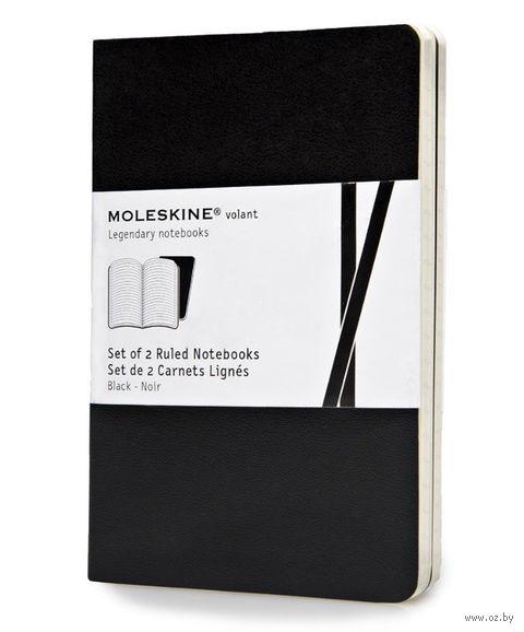 """Записная книжка Молескин """"Volant"""" в линейку (карманная; мягкая черная обложка; 2 штуки)"""