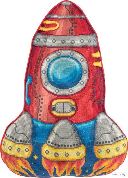 """Вышивка крестом """"Подушка Ракета"""" (310х430 мм) — фото, картинка"""