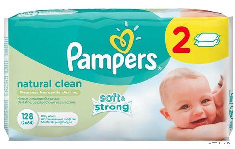 """Салфетки влажные детские """"Pampers Natural Clean"""" (128 шт)"""