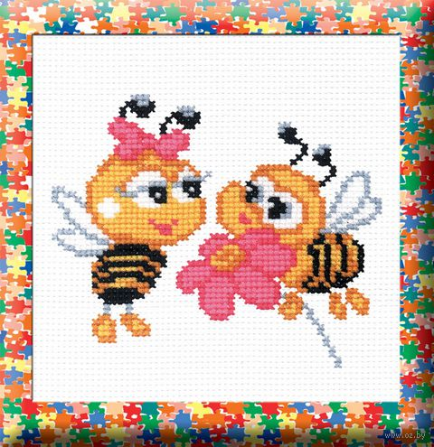 "Вышивка крестом ""Пчелки"" (120x150 мм) — фото, картинка"
