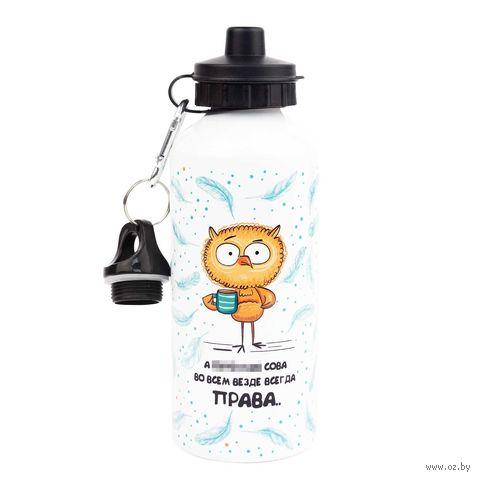 """Бутылка для воды """"Сова всегда права"""" (600 мл) — фото, картинка"""