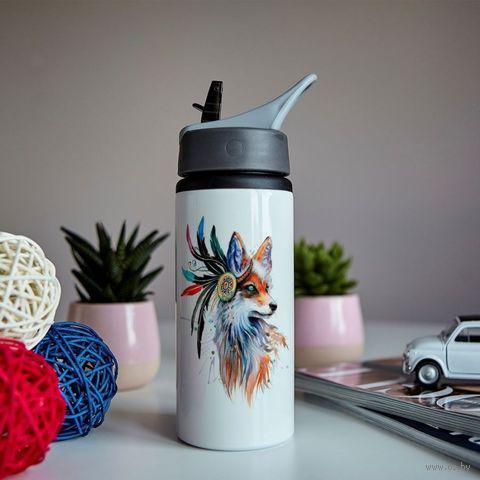 """Бутылка для воды """"Акварельная лиса"""" (600 мл) — фото, картинка"""