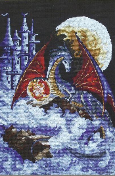 "Вышивка крестом ""Дракон голубой планеты"" (270х380 мм) — фото, картинка"