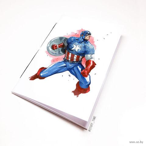 "Блокнот белый ""Капитан Америка"" А5 (арт. 221)"