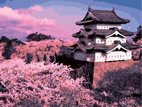 """Картина по номерам """"Замок Хиросаки и сакура"""" (400х500 мм) — фото, картинка"""