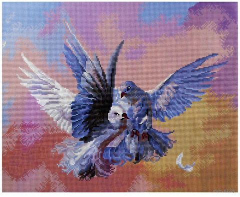 "Алмазная вышивка-мозаика ""Голуби"" (400x500 мм) — фото, картинка"