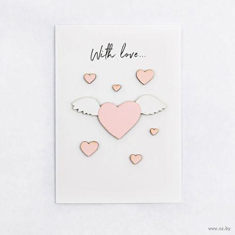 """Открытка """"With Love"""" (арт. 130) — фото, картинка"""