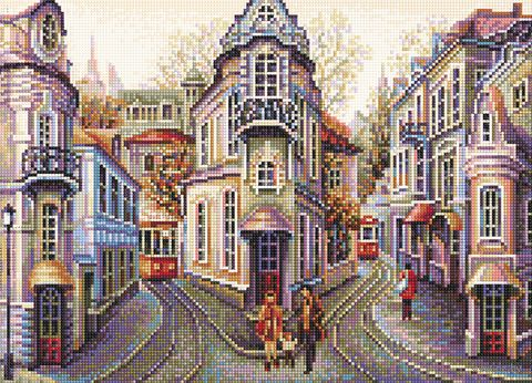"""Алмазная вышивка-мозаика """"Городские улочки"""" (500х360 мм) — фото, картинка"""