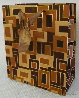 """Пакет бумажный подарочный """"Геометрия"""" коричневый (33x43x10 см)"""