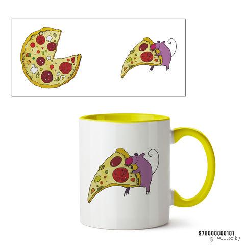 """Кружка """"Пицца"""" (арт. 101, желтая)"""