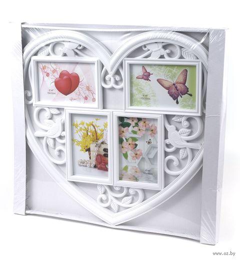 "Рамка пластмассовая ""Сердце"" на 4 фото (10х15 см; арт. 10989611) — фото, картинка"