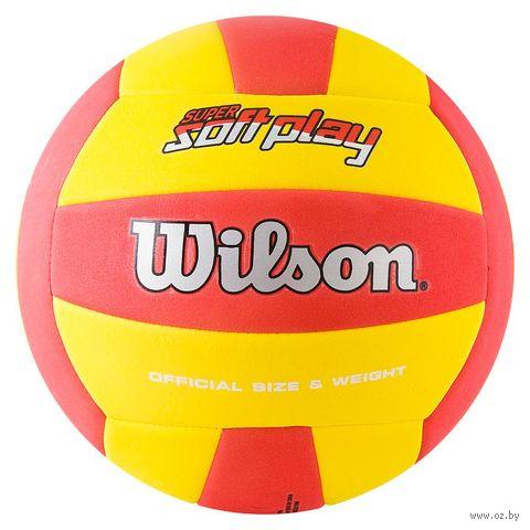 """Мяч волейбольный Wilson """"Super Soft Play"""" №5 (красно-жёлтый) — фото, картинка"""
