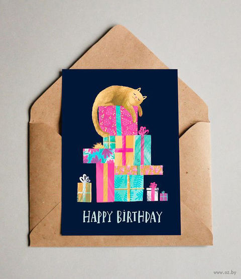 """Открытка """"Happy Birthday cat"""" (арт. 592) — фото, картинка"""