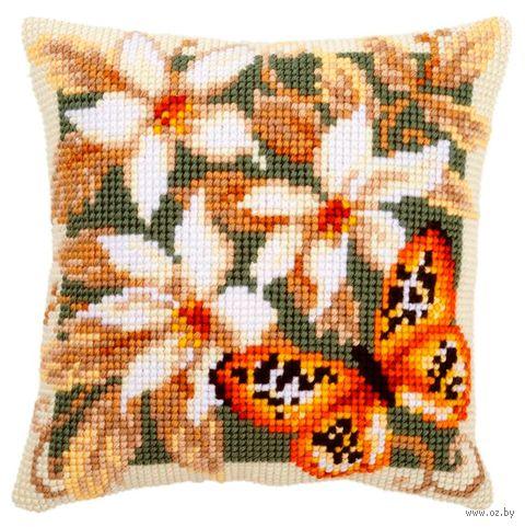 "Вышивка крестом ""Подушка. Оранжевая бабочка"" (400х400 мм) — фото, картинка"