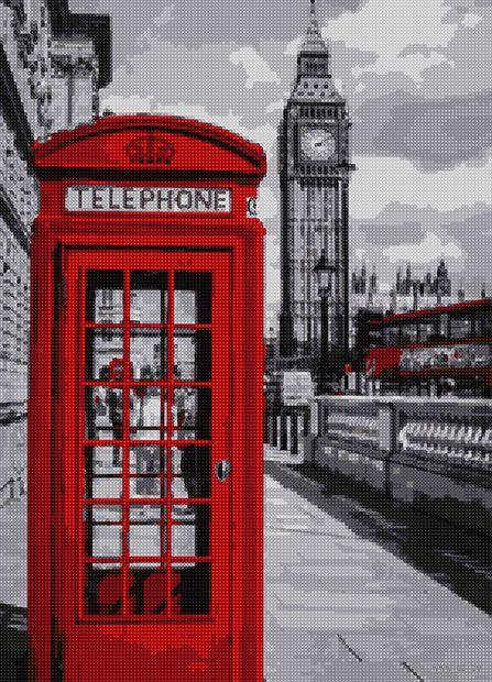 """Алмазная вышивка-мозаика """"Телефонная будка в Лондоне"""" (500х360 мм) — фото, картинка"""