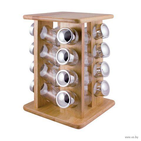 Набор банок стеклянных для сыпучих продуктов на деревянной подставке (16 шт. по 100 мл)