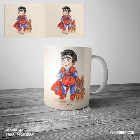 "Кружка ""Супермэн"" (белая; арт. 1235) — фото, картинка"