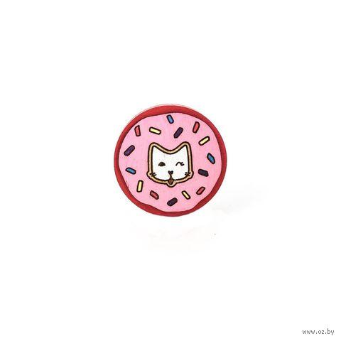 """Значок деревянный """"Пончик розовый"""" — фото, картинка"""