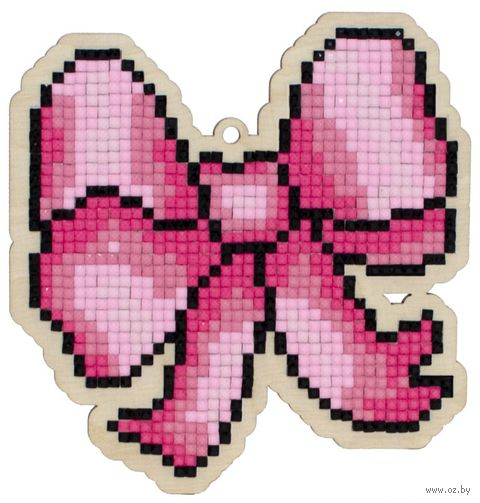 """Алмазная вышивка-мозаика """"Брелок. Розовый бант"""" (103х108 мм) — фото, картинка"""