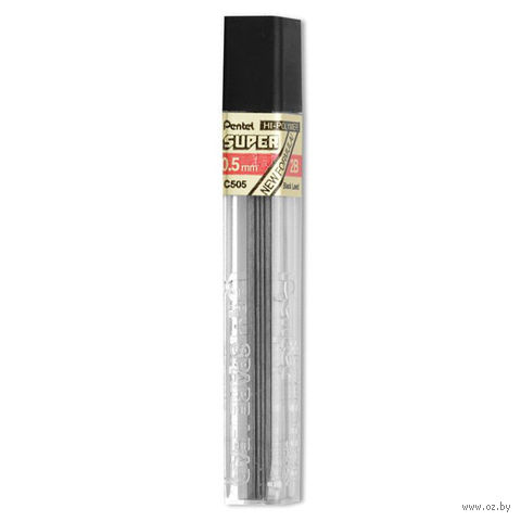 """Грифели для автоматического карандаша """"Hi Polymer Super Lead"""" (твердость: 2B; 0,5 мм)"""