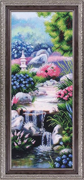 """Вышивка бисером """"Водопад в стиле фен-шуй"""" (200х500 мм) — фото, картинка"""
