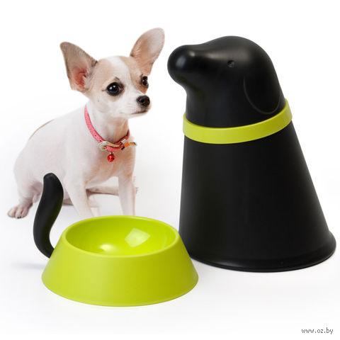 """Контейнер и миска для собаки """"Pupp"""" (черная)"""